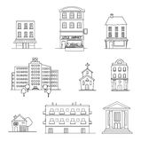 Set of various buildings Royalty Free Stock Images