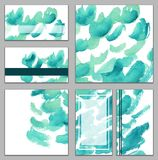Set of various business cards, cutaways - abstract bright blue, azure watercolor hand-painted background. Brush`s texture, minimalistic illustration vector illustration
