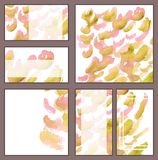 Set of various business cards, cutaways - abstract golden and pink watercolor hand-painted background, brush`s texture. Minimalistic illustration stock illustration