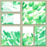 Set of various business cards, cutaways template - Bright green watercolor hand-painted background, minimalistic. Set of various business cards, cutaways vector illustration