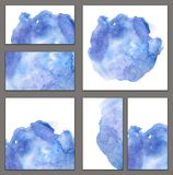 Set of various business cards, cutaways templates - abstract blue watercolor hand-painted background, brush texture. Minimalistic illustration vector illustration