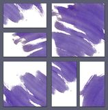 Set of various business cards, cutaways templates - abstract blue watercolor hand-painted background, violet ink stroke. Set of various business cards, cutaways stock illustration