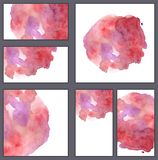 Set of various business cards, cutaways templates - Watercolor pink dot with drips and stains isolated on white vector illustration