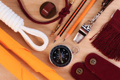A set of various camping equipment. Stock Photography