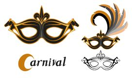 Set of various carnival masks with the image of animals horse. Carnival concept illustration. Black mask with a golden pattern. And feathers. Vector graphics to Royalty Free Stock Images