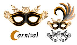 Set of various carnival masks with the image of animals owl. Carnival concept illustration. Black mask with a golden pattern. And feathers. Vector graphics to Stock Photos
