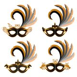 Set of various carnival masks with the image of different animals - owl, wolf, horse, raccoon. Carnival concept illustration. Black mask with a golden pattern Stock Images