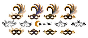 Set of various carnival masks with the image of different animals - owl, wolf, horse, raccoon. Carnival concept illustration. Black mask with a golden pattern Royalty Free Stock Images