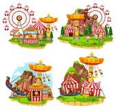 Set of various carnival scenes. Illustration royalty free illustration