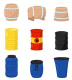 Flat vector set of various barrels. Wooden containers for beer or wine, plastic water tanks, metal drum with crude oil vector illustration