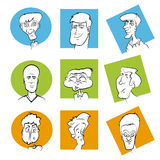 Set of Various Cartoon Character Faces Royalty Free Stock Images