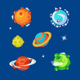 Set of various cartoony aliens planets is the space. stock illustration
