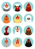Set of various chicken face. Set of various breeds of chicken face in circle frame on blue vector illustration