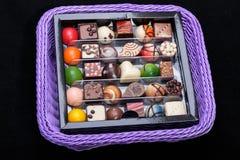 Set of a various chocolate pralines Stock Images