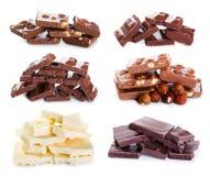 Set of various chocolate Royalty Free Stock Photos