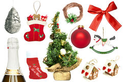 Set of various Christmas ornaments Stock Images
