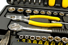 Set of various chrome tools in box Stock Image