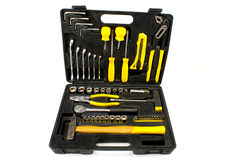 Set of various chrome yellow tools in box Stock Photography