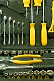 Set of various chrome yellow tools in box Royalty Free Stock Photo