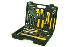 Set of various chrome yellow tools in box Royalty Free Stock Image