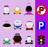 Set of various city traffic vehicles icons. Featuring taxi, hybrid car, delivery car, ambulance, police car, bus, MRT or train, cable railway, fire engine, mini Royalty Free Stock Photo
