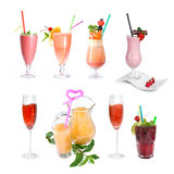 Set of various cold cocktails Royalty Free Stock Image