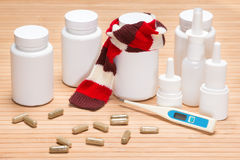 Set of various cold remedies Stock Photo