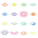Set of Various Color Eye Icons on White Background Stock Photos
