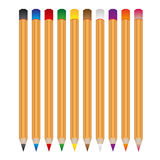 Set of various color wooden vector crayons Stock Photo