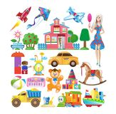 Set of various colorful children`s toys. Educational and sports games. royalty free illustration