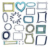 Set of Various Colorful Frames Vector Illustration. With blue yellow and black borders with leaves dots and striped lines isolated on white background Stock Photography