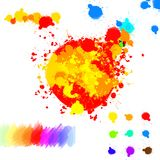 Set of various colorful ink splatter drops Stock Photography