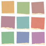 Set of various colorful recycled torn grainy note Stock Photo