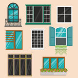 Set of various colorful  windows.Flat style vector illustration. Set of various colorful  windows.House construction collection.Flat style vector illustration Royalty Free Stock Photos