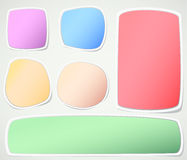 Set of various colors note papers on gray Royalty Free Stock Photography