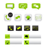 Communication icons. Set of various communication icons: Customer support via email, chat and telephone Stock Photography