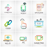Set of various company logos, business icons. Connection chain mobile phone mp3 player click hand finger pointer tv set wifi pc laptop gamepad Stock Photos