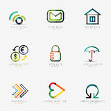 Set of various company logos, business icons Royalty Free Stock Images