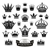 Set of various crowns isolated on white Royalty Free Stock Photos