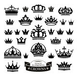 Set of various crowns isolated on white Stock Photography