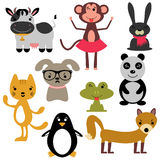 Set of various cute animals Stock Photos