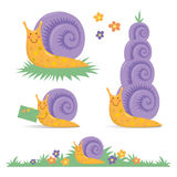 Set of various cute cartoon snails. Characters collection clip-art snail mail Vector Illustration