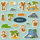 Set of various cute monkey, vector stickers of animals. And items of nature Royalty Free Stock Images