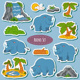 Set of various cute rhino, vector stickers of animals Stock Image