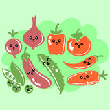 Set of various cute vegetables with faces Stock Images