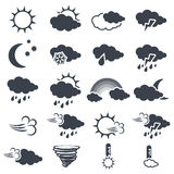 Set of various dark grey weather symbols, elements of forecast - icon of sun, cloud, rain, moon, snow, wind, whirlwind, rainbow, s Royalty Free Stock Photos