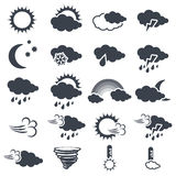 Set of various dark grey weather symbols, elements of forecast - icon of sun, cloud, rain, moon, snow, wind, whirlwind, rainbow, s Royalty Free Stock Photography