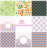 Set of various decorative backgrounds Stock Photos