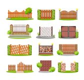 Set of various decorative wooden, metal and stone fences. Royalty Free Stock Photography
