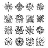 Set of 16 various design elements in a mono-line style. Vector i. Llustration for logo design, tattoo and other Royalty Free Illustration